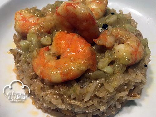 arroz con langostinos al curry